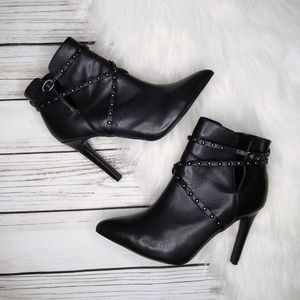 TOP SHOP BLACK LEATHER STUDDED ANKLE STRAP BOOTIES